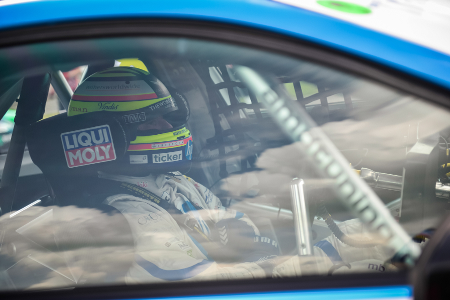 Mark Blundell sitting in his car at the BTCC