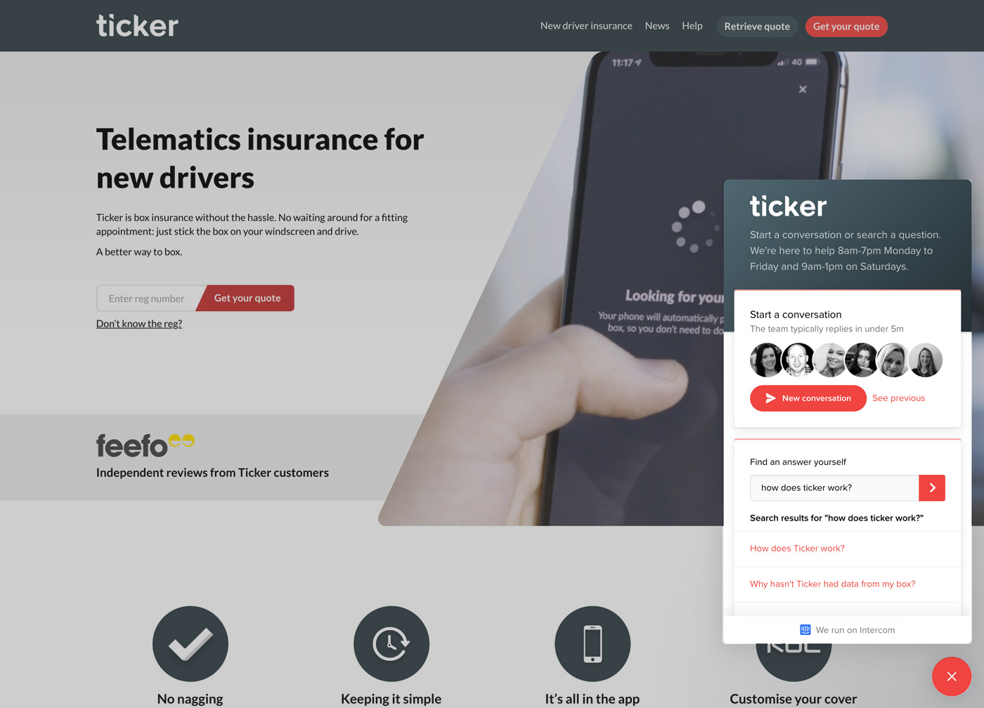 Intercom chat support for Ticker new driver insurance